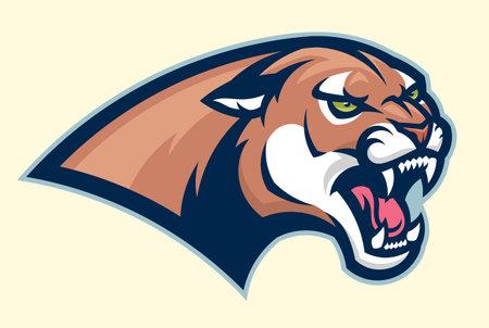 Cougar head horizontal emblem