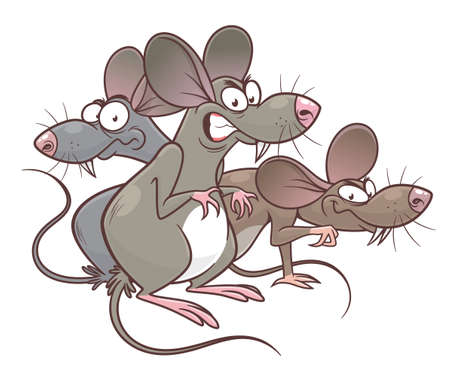 Mice pest cartoon illustration