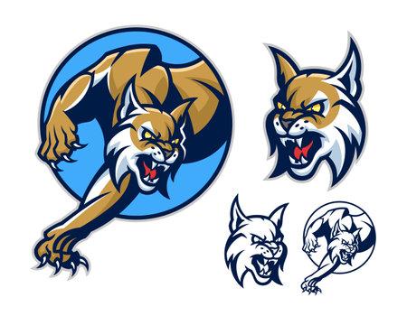 Stylized lynx emblem set. Vector illustration. Illustration