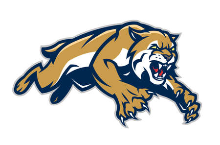 Leaping lynx vector mascot