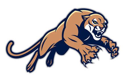 Leaping cougar vector mascot