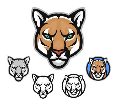 Ð¡ougar head front emblem Illustration