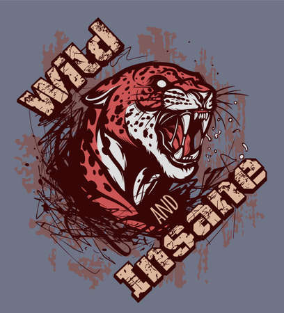 Wild and insane leopard illustration. Wild and insane illustration for t-shirt or any other print with lettering and angry leopard.