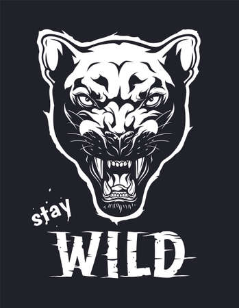 Stay wild panther illustration. Stay wild illustration for t-shirt or any other print with lettering and panther head. Illustration
