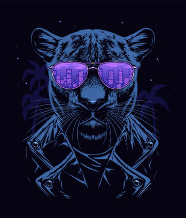 Panther in glasses Illustration