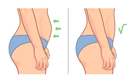 Woman belly weight loss side illustration Illustration