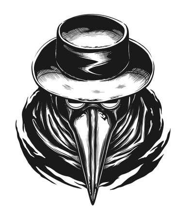 Plague doctor portrait digital ink illustration. Illustration