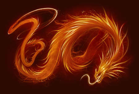 Fire asian dragon horizontal. Fire Asian dragon on the dark background. Digital painting.