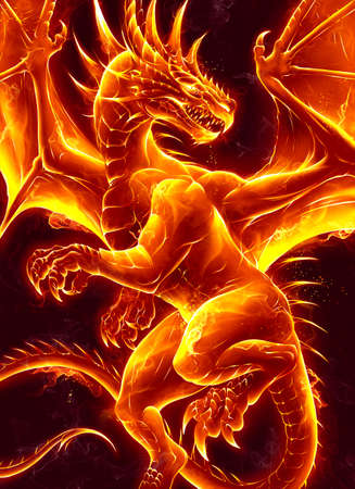 Fire dragon on the dark background. Digital painting.