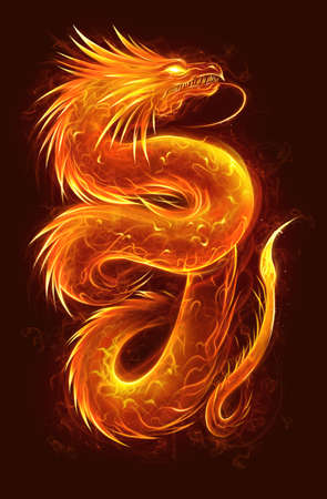 Fire asian dragon vertical. Fire Asian dragon on the dark background. Digital painting.