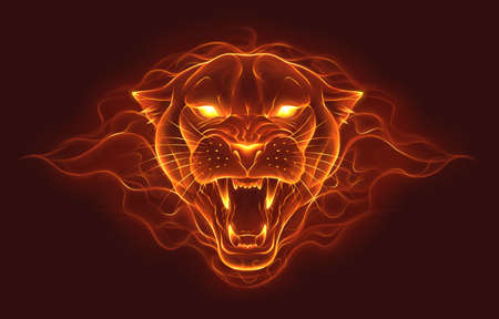 Fire panther head illustration. Panther head made of fire with flame background. Digital painting.