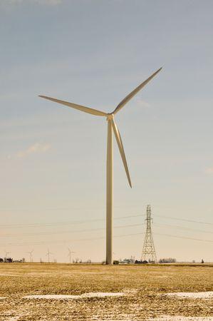 creates: Wind Turbine Creates the Power Behind Stock Photo