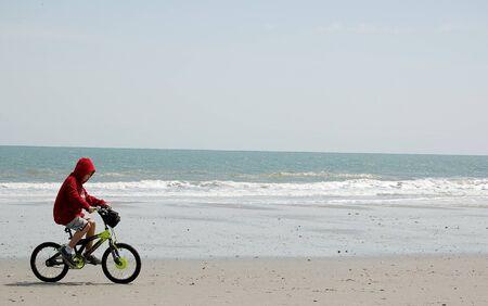 Biker on the Beach Stock Photo