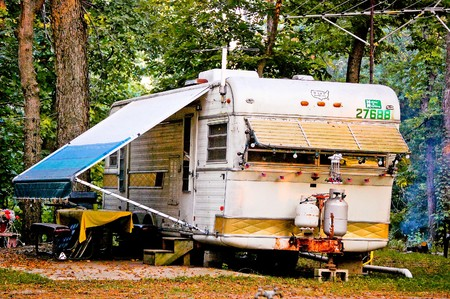 awning: Classic Travel Trailer