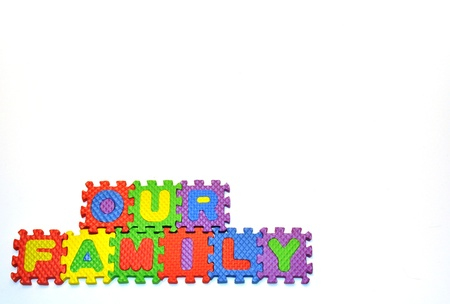 Our Family connected blocks lower left hand corner