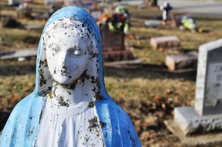 gravesite: Gravesite - Mary statue - background Stock Photo