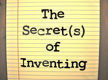 inventing: Sign the secrets of inventing Stock Photo