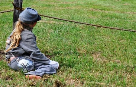 Civil war re-enactment - child foot canteen left