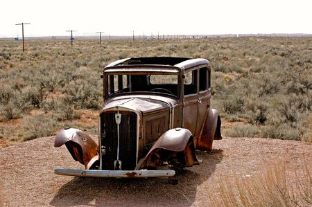 Old-Timey Car in the Desert photo