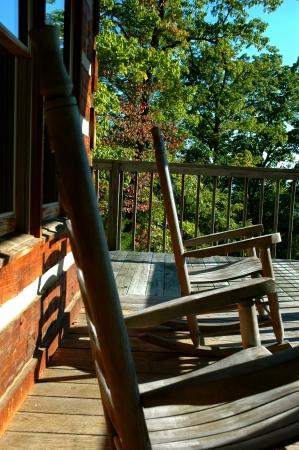 log deck: Rocking on log cabin deck