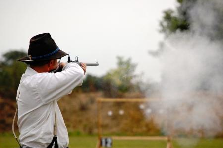 carbine: Man shoots carbine sparks fly