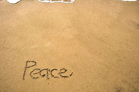Peace Written in the Sand Stock Photo - 17756179