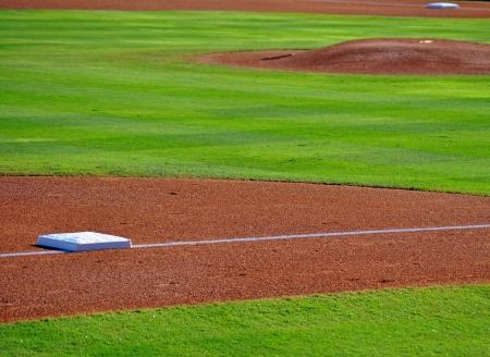 pitchers mound: Bases and pitchers mound