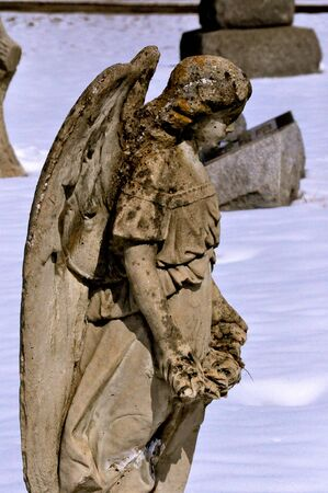 Side View of Angel Cemetery Statue
