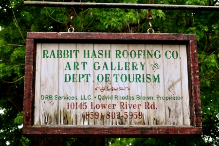 hash: Rabbit Hash Roofing Sign