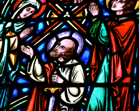 follower: Jesus Christs Follower in Stained Glass Editorial