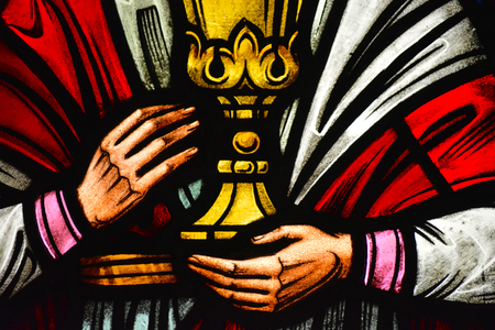 Holding a Chalice - Stained Glass Stock Photo - 22517168
