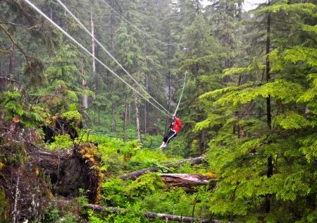 Ziplining in the forest of Ketchikan, Alaska photo