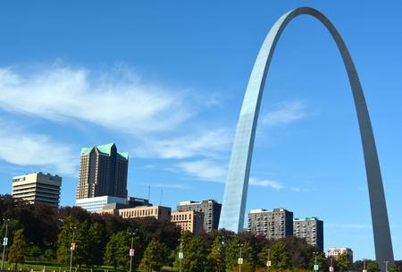 st  louis arch: St. Louis Arch over a cityscape
