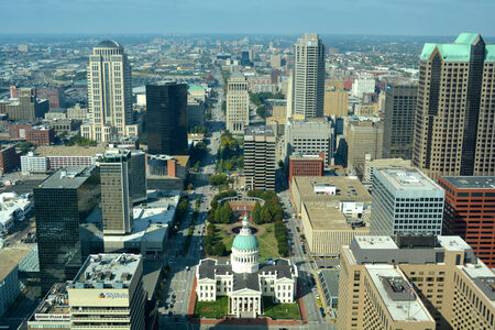 st  louis arch: View of St. Louis, Missouri from atop the St. Louis Arch