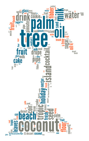 fibber: Single palmtree on a little island word cloud Stock Photo