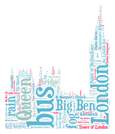 London Big Ben silhouette word cloud photo
