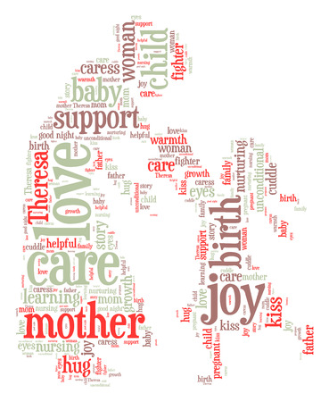Mother and child word cloud photo