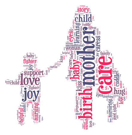 Mother with children word cloud photo