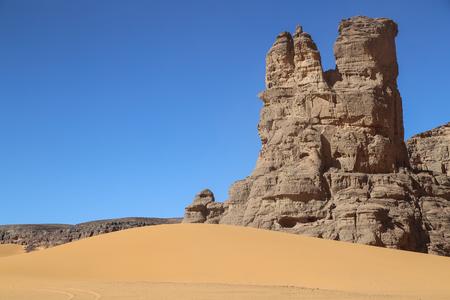 pintura rupestre: Sahara de Argelia Foto de archivo