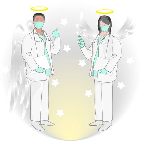 Illustration of doctors who have died carrying out their duties, Rest and Peace. Real hero.