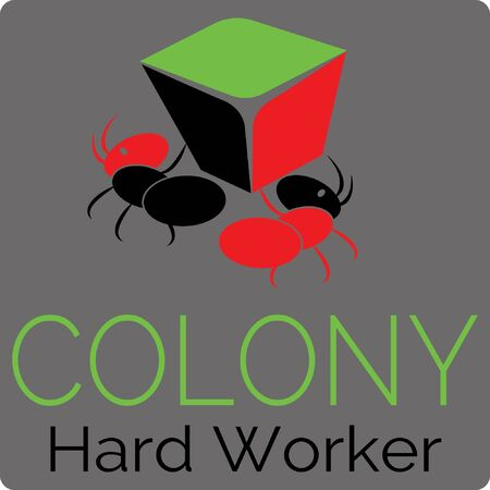 Ant colony logo with illustrations of two ants that support each other.