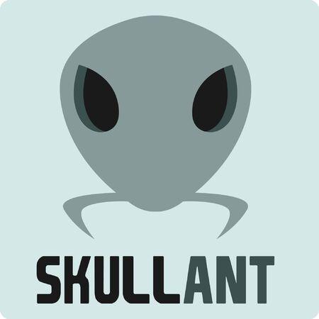 Ant skull logo with illustration of ant head shells