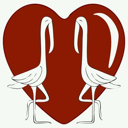 Illustration of Outline Love Bird, Red Heart. Stock Vector Icon, Light Background. Stock Illustratie
