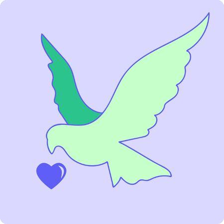 Illustration of Love Bird, Blue Heart. Stock Vector Icon, Light Background.