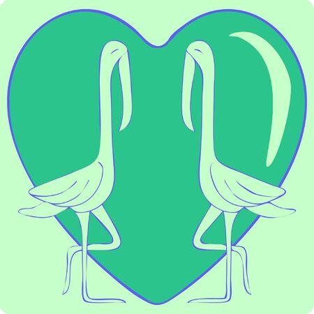 Illustration of Outline Love Bird, Red Heart. Stock Vector Icon, Light Background. Vector Illustratie