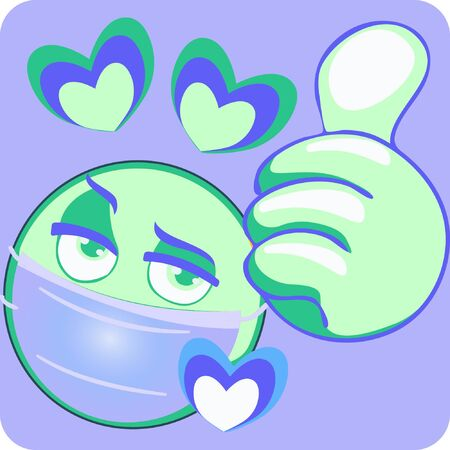 Illustration of Thumb Wearing Mask And Heart, Stock Vector Icon.