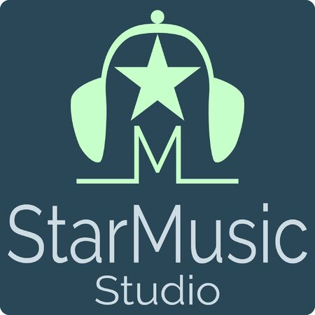 Music studio logo with the symbol M, bells, stars and earphones. Stock Vector Icon