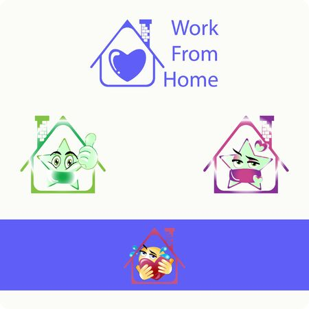 Illustration of Blue Heart Home, Stars emoji and Big Huge Heart with Gradient Style. Stock Vector Icon. Light Background. Illustration