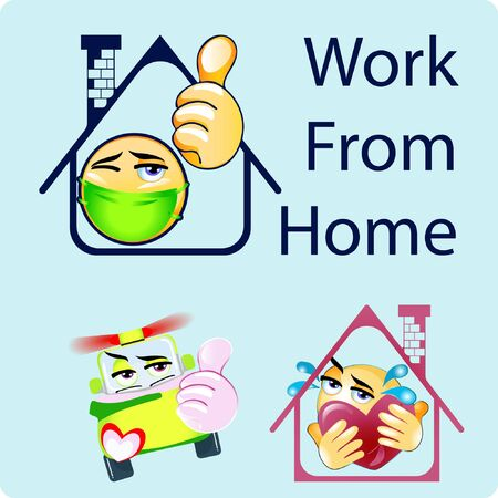 Illustration of Home with thumb emoji, car and Big Huge Heart with Tears Gradient Style. Stock Vector Icon. Light Background.