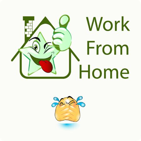 Illustration of Home with Thumb Star emoji Gradient Style. Stock Vector Icon. Light Background.